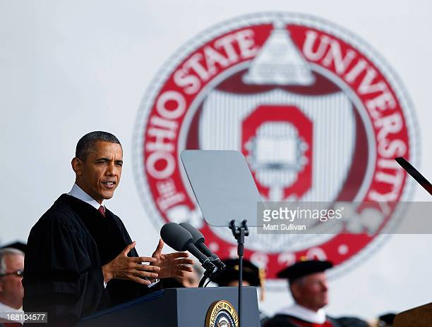 President Barack Obama gives the commencement address to the graduating class of The Ohio State University at Ohio Stadium on May 5, 2013 in...