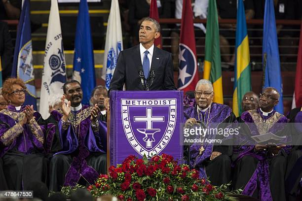 S President Barack Obama gives the eulogy at the memorial service for Reverend Clementa Pinckney in Charleston USA on June 26 2015 Reverend Clementa...