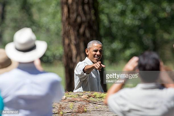 President Barack Obama greets a crowd in front of Cook's Meadow before his speech on June 18 2016 in Yosemite National Park California Obama is...