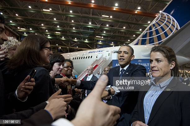 US President Barack Obama greets Boeing employees prior to speaking on the economy following a tour of the Boeing 787 Dreamliner airplane production...