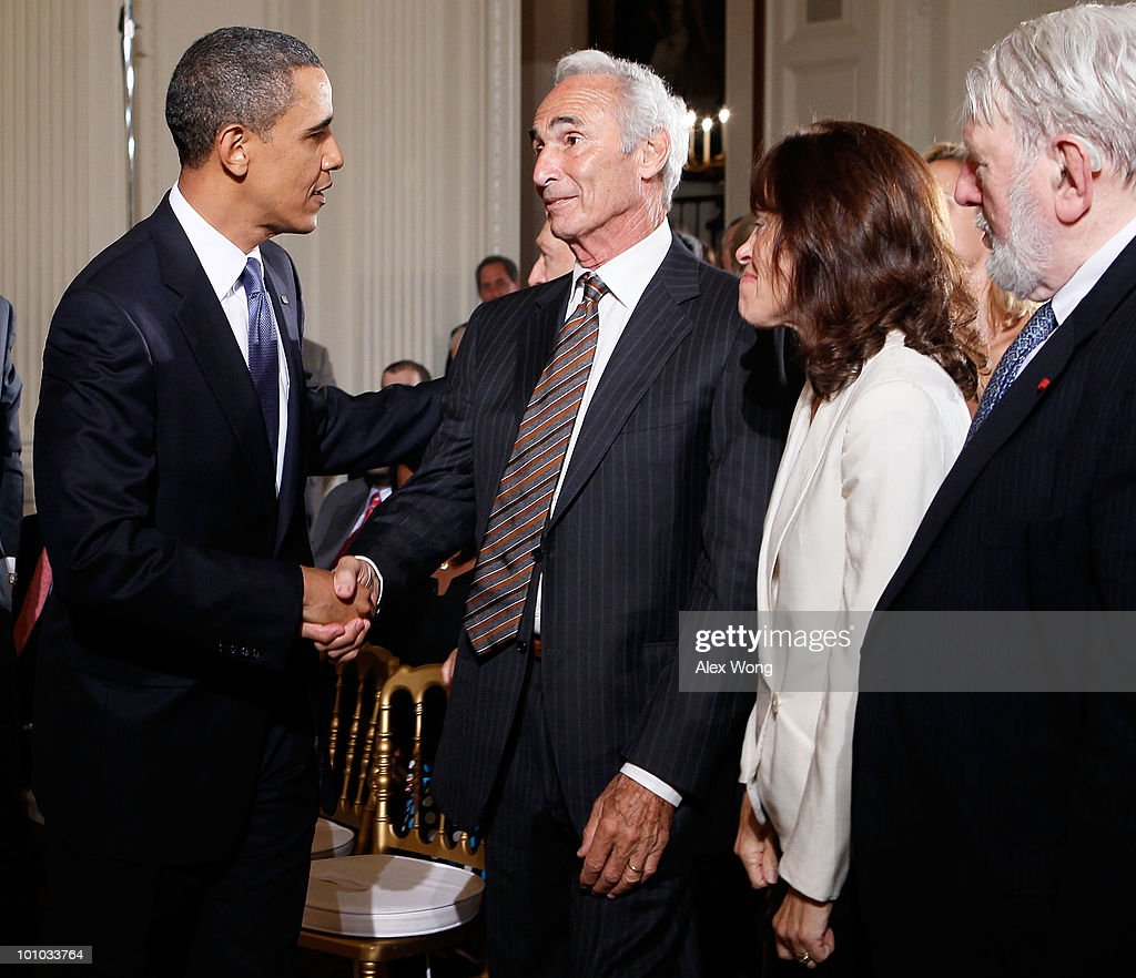 U.S President Barack Obama greets former baseball player Sandy Koufax, as Jane Clarke and Theodore Bikel look on during a reception in honor of Jewish American Heritage Month May 27, 2010 in the East Room of the White House in Washington, DC. The reception was to celebrate Jewish American heritage and its contributions to American culture.
