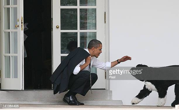 President Barack Obama greets his dog Bo outside the Oval Office of the White House March 15, 2012 in Washington, DC. Obama spoke today at Prince...