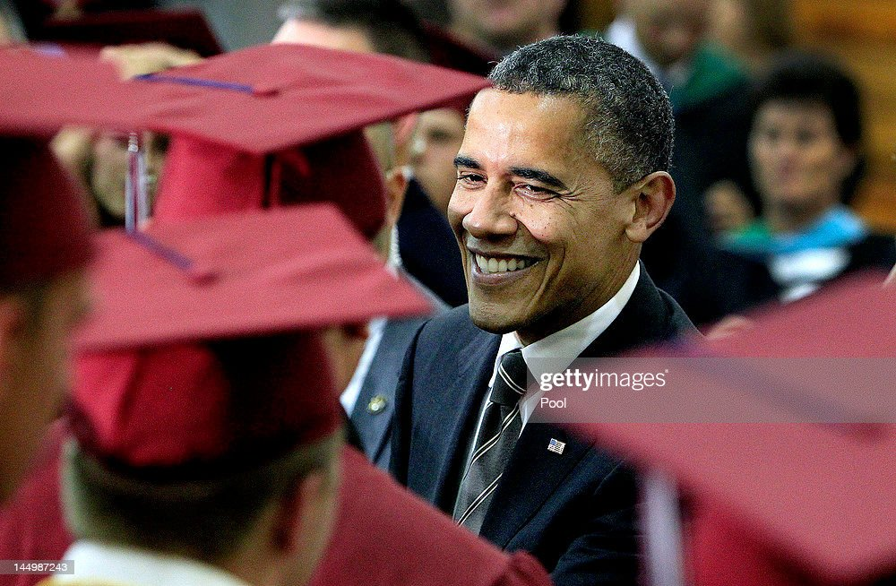 President Obama Delivers Commencement Address At Joplin High School : News Photo