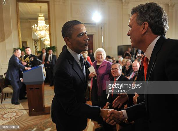US President Barack Obama greets members of the Bush Family including Marvin Bush during a Medal of Freedom Ceremony on Feburary 15 2011 at the White...