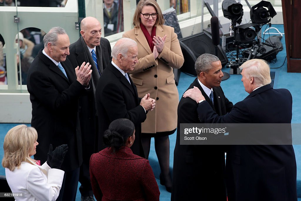 President barack obama greets president elect donald trump on the donald trump is sworn in as 45th president of the united states news photo m4hsunfo