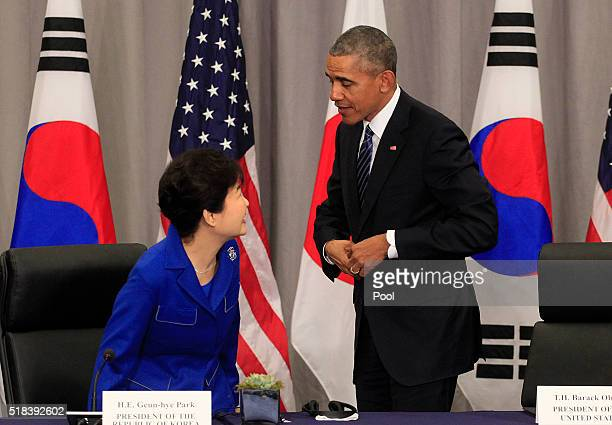 President Barack Obama greets President Park Geun-Hye of the Republic of Korea before a meeting at the Nuclear Security Summit March 31, 2016 in...