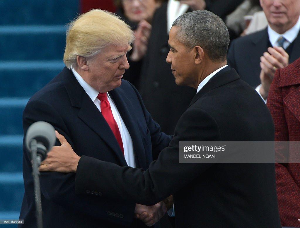 Us President Barack Obama Greets President Elect Donald Trump As He