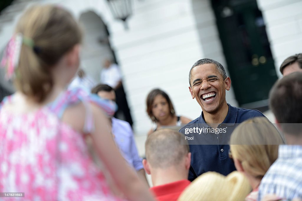 U.S. President Barack Obama greets supporters after delivering remarks to an Independence Day picinic on the South Lawn of the White House on July 4, 2012 in Washington, D.C. On this Independence Day President Obama is hosting a 4th of July celebration picnic on the South Lawn for White House staff and US service members.
