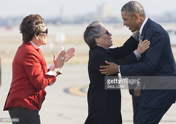 US President Barack Obama greets US Senator Barbara Boxer Democrat of California alongside Representative Anna Eshoo Democrat of California after...