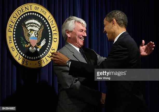 S President Barack Obama greets White House counsel Gregory Craig during an event at the Eisenhower Executive Office Building of the White House...