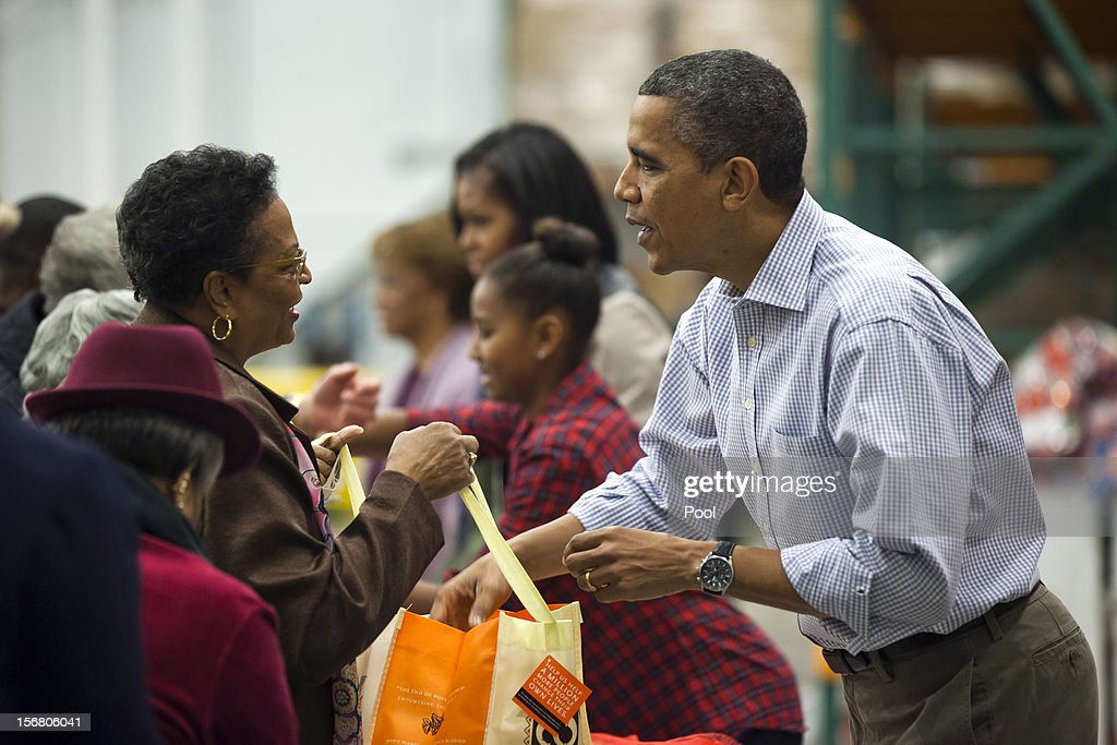 President Obama Distributes Food at Capitol Area Food Bank
