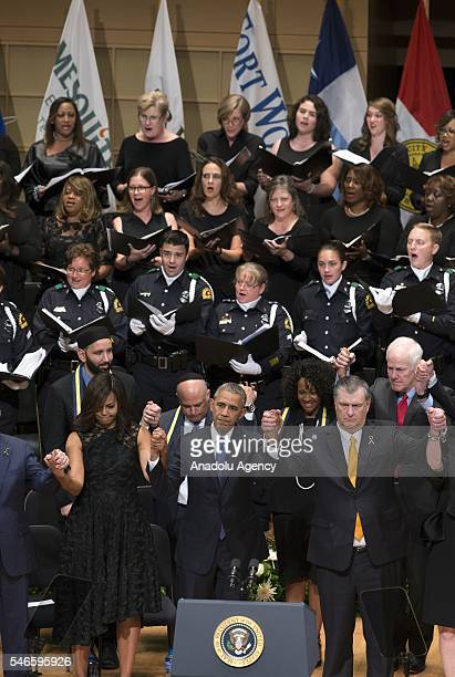 S President Barack Obama his wife Michelle Obama US Vice President Joe Biden Former US President George W Bush attend a memorial service for the...