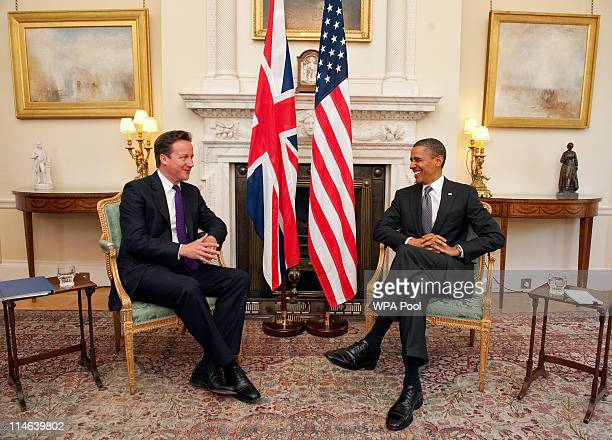 President Barack Obama holds a bilateral meeting with British Prime Minister David Cameron at 10 Downing Street on May 25 2011 in London England The...