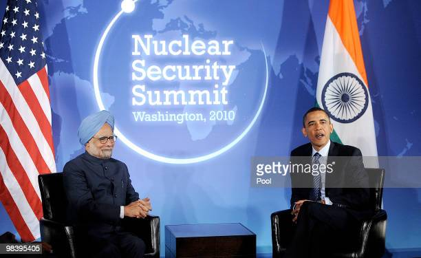 President Barack Obama holds a bilateral meeting with India's Prime Minister Manmohan Singh at the Blair House April 11, 2010 in Washington, DC....