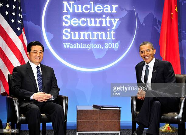 US President Barack Obama holds a bilateral meeting with President Hu Jintao of China on the sidelines of the Nuclear Security Summit at the...