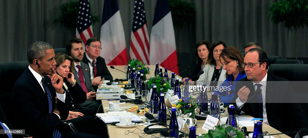 U.S. President Barack Obama holds a bilateral meeting with President Francois Hollande of France at the Nuclear Security Summit March 31, 2016 in Washington, DC. World leaders are gathering for a two-day conference that will address a range of issues including ongoing efforts to prevent terrorist groups from accessing nuclear material.