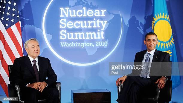 US President Barack Obama holds a bilateral meeting with President Nursultan Nazarbayev of Kazakhstan at the Blair House April 11 2010 in Washington...