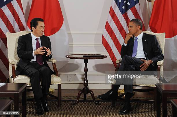 US President Barack Obama holds a bilateral meeting with Prime Minister of Japan Naoto Kan on September 23 2010 in New York City The meeting between...
