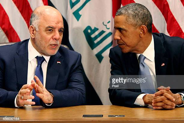 US President Barack Obama holds a bilateral meeting with Prime Minister of Iraq Haider alAbadi during the 69th United Nations General Assembly at...