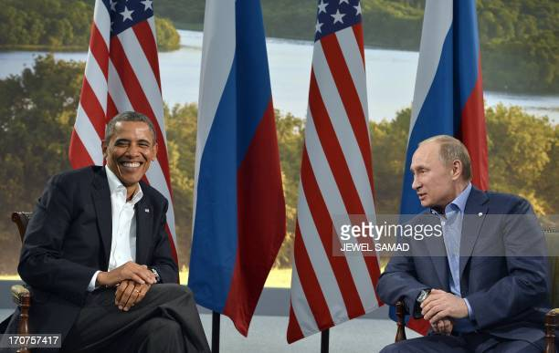 US President Barack Obama holds a bilateral meeting with Russian President Vladimir Putin during the G8 summit at the Lough Erne resort near...