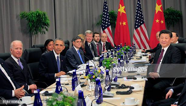 President Barack Obama holds a bilateral with President Xi Jinping of China at the Nuclear Security Summit March 31, 2016 in Washington, DC. World...