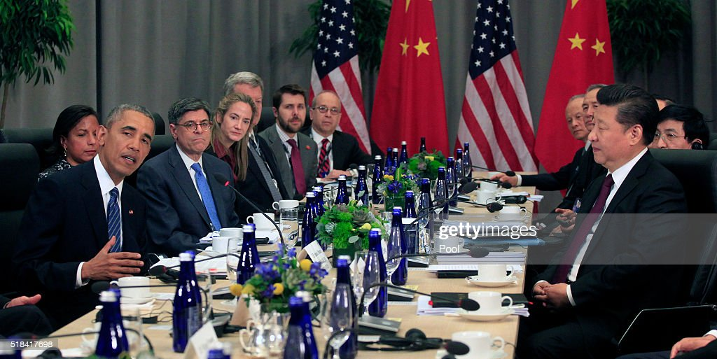 President Barack Obama holds a bilateral with President Xi Jinping of China (R) at the Nuclear Security Summit March 31, 2016 in Washington, DC. World leaders are gathering for a two-day conference that will address a range of issues including ongoing efforts to prevent terrorist groups from accessing nuclear material.
