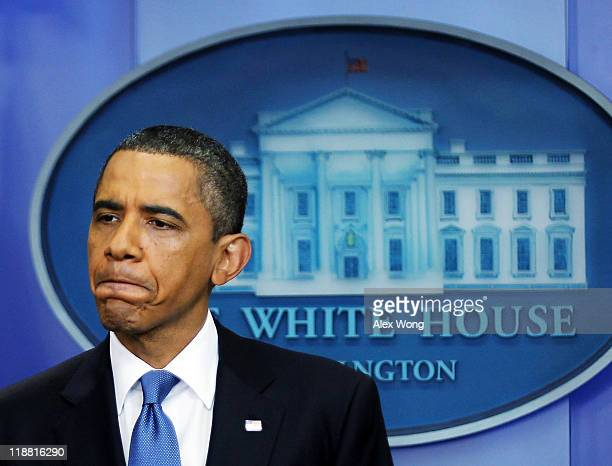 President Barack Obama holds a news conference at the Brady Press Briefing Room at the White House July 11, 2011 in Washington, DC. Prsident Obama...