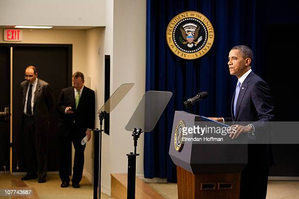 S President Barack Obama holds a news conference at the Eisenhower Executive Office Building as senior advisor David Axelrod and Press Secretary...