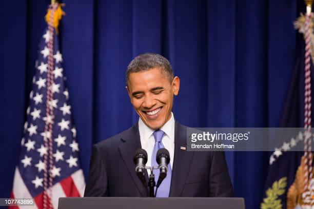 S President Barack Obama holds a news conference at the Eisenhower Executive Office Building on December 22 2010 in Washington DC Earlier in the day...