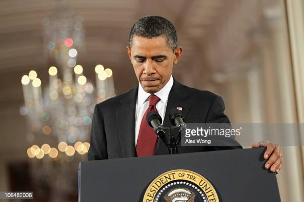 S President Barack Obama holds a news conference the day after Republicans gained 60 seats in the House of Representatives in midterm elections in...