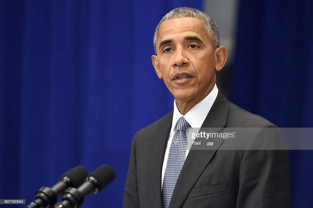 U.S. President Barack Obama holds a press conference about the recent bombings in the New York region at the Lotte New York Palace Hotel on September 19, 2016 in New York City. On the evening of September 17, 2016, a bomb placed in a dumpster exploded in lower Manhattan injuring at least 29 people.