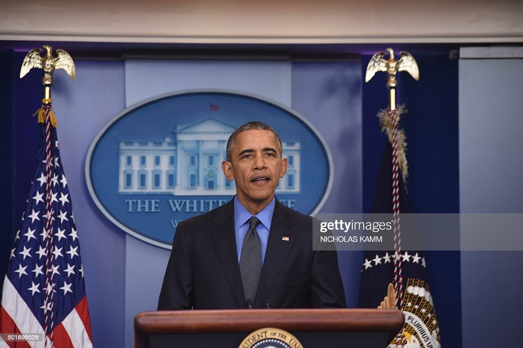 US President Barack Obama holds a press conference in the briefing room at the White House in Washington, DC, on December 18, 2015.