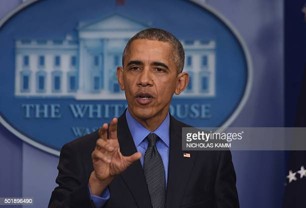 US President Barack Obama holds a press conference in the briefing room at the White House in Washington DC on December 18 2015 AFP PHOTO/NICHOLAS...