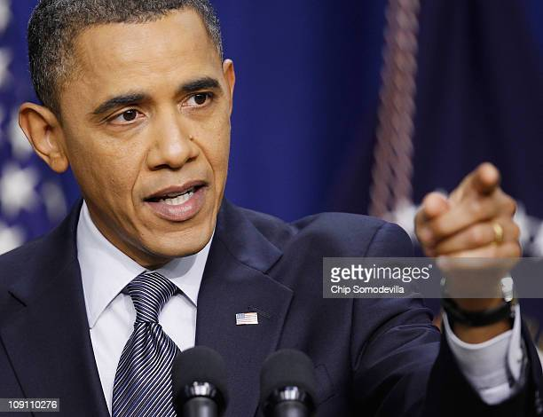 S President Barack Obama holds a press conference in the Eisenhower Executive Office Building February 15 2011 in Washington DC Obama faced a battery...