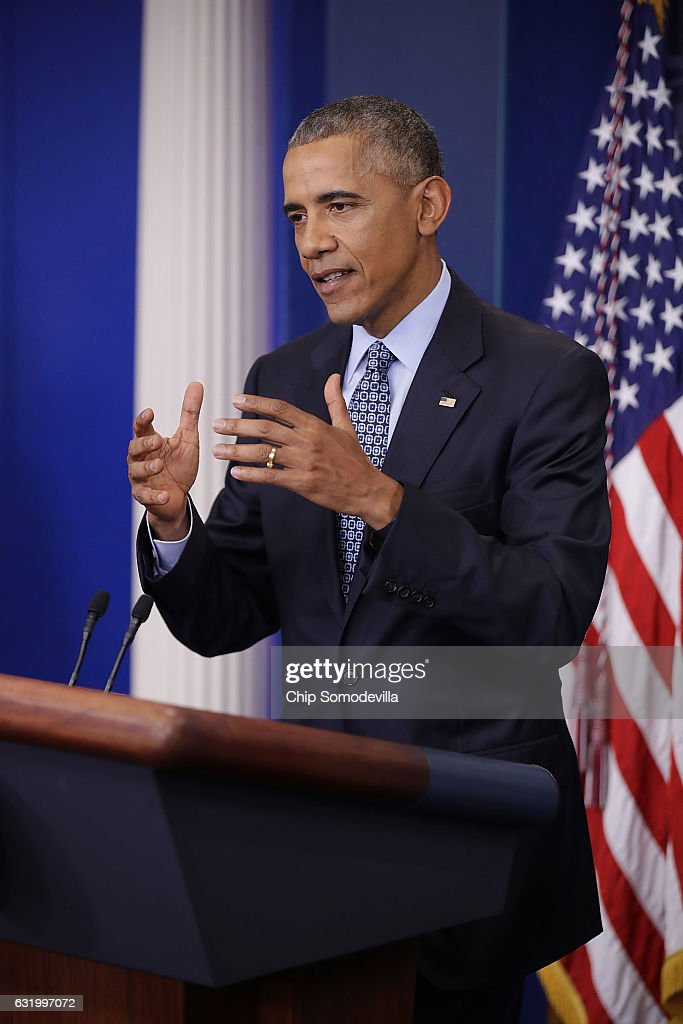 U.S. President Barack Obama holds the last news conference of his presidency in the Brady Press Briefing Room at the White House January 18, 2017 in Washington, DC. This was Obama's final question-and-answer session with reporters before New York real estate mogul and reality television personality Donald Trump is sworn in as the 45th president of the United States on Friday.