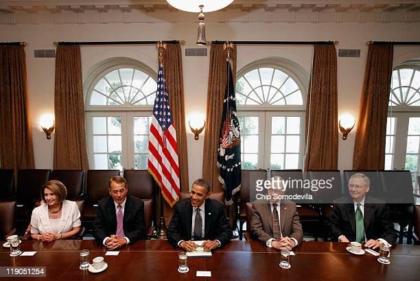 S President Barack Obama host Congressional leaders Minority Leader Nancy Pelosi Speaker of the House John Boehner Senate Majority Leader Harry Reid...