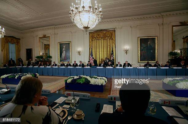 President Barack Obama hosts a working dinner with heads of delegations at the Nuclear Security Summit March 31, 2016 in Washington, DC. World...
