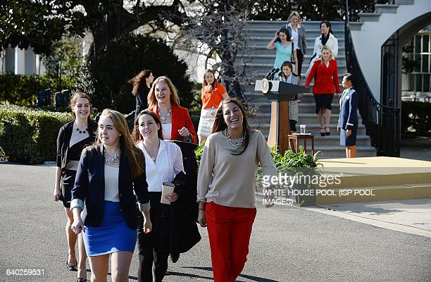 President Barack Obama hosts the 20122013 NCAA Division I Men's and Women's Champions on the South Lawn of the White House on March 10 2014 in...