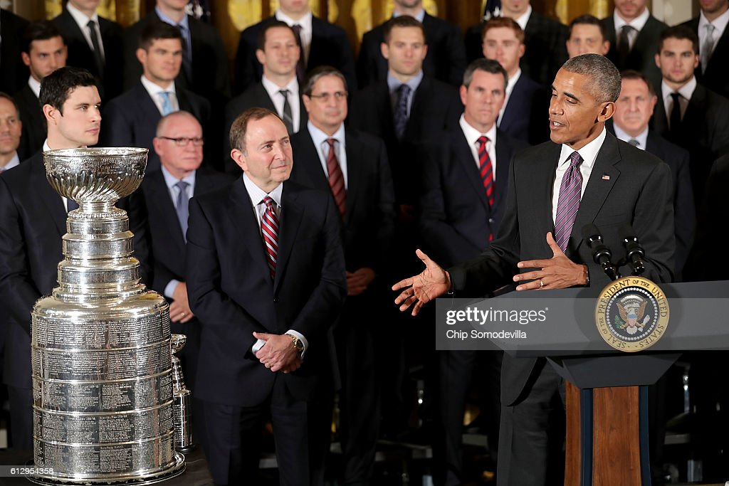 U.S. President Barack Obama hosts the National Hockey League champion Pittsburgh Penguins to celebrate their Stanley Cup victory in the East Room of the White House October 6, 2016 in Washington, DC. The Penguins defeated the San Jose Sharks in six games in the 2016 NHL Finals, the fourth time the franchise has won the Stanley Cup.