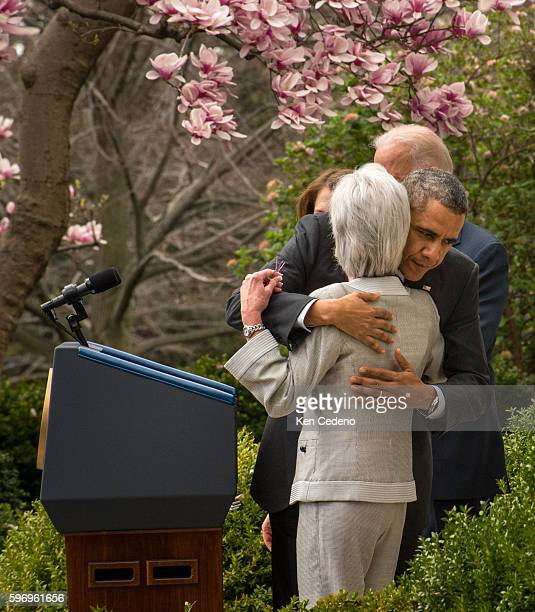 US President Barack Obama hugs Outgoing Health and Human Services Secretary Kathleen Sebelius after she spoke in the Rose Garden of the White House...