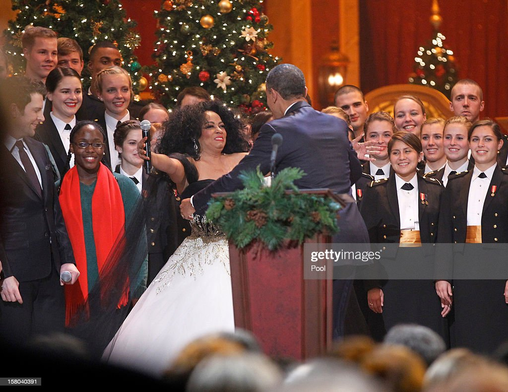 U.S. President Barack Obama hugs performer Diana Ross at the end of the 'Christmas in Washington' concert at the National Building Museum on December 9, 2012 in Washington, D.C. The concert benefits the National Childrens Medical Center and is hosted by comedian Conan O'Brien.