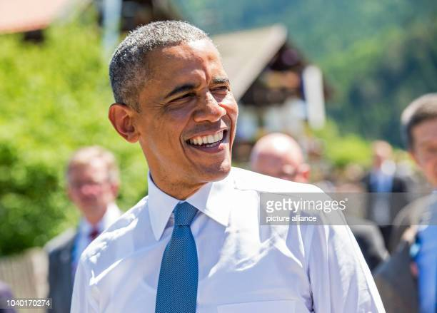 President Barack Obama in Kruen, Germany, 07 June 2015 as he joins with German Chancellor Angela Merkel before they attend the G7 summit in...