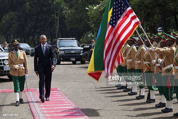 US President Barack Obama inspects the Ethiopian Honor Guard ahead of a bilateral meeting with Prime Minister of Ethiopia Hailemariam Desalegn in...
