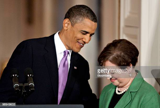 President Barack Obama introduces Elena Kagan, U.S. Solicitor general, during a news conference in the East Room of the White House to hold a news...