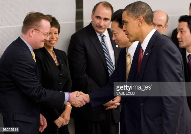 US President Barack Obama introduces Japanese Prime Minister Yukio Hatoyama to members of his staff including White House Press Secretary Robert...