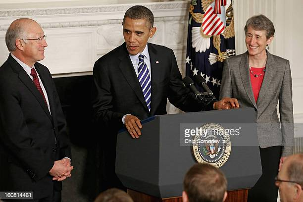 S President Barack Obama introduces REI Chief Executive Officer Sally Jewell as his next nominee to be Secretary of the Interior replacing outgoing...