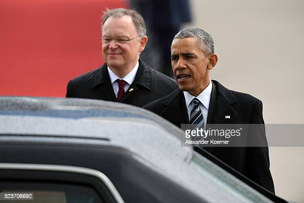 President Barack Obama is followed by Minister President of Minister President of Lower Saxony Stephan Weil on the way to his limousine on April 24,...