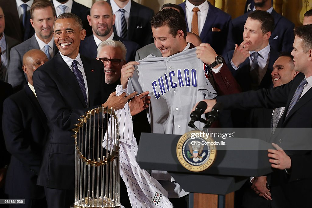 President Obama Welcomes World Series Champion Chicago Cubs To White House : News Photo