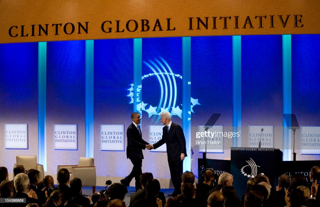 U.S. President Barack Obama is greeted on stage by former President Bill Clinton during the closing plenary session of the annual Clinton Global Initiative (CGI) on September 23, 2010 in New York City. President Obama was speaking to introduce First Lady Michelle Obama. The sixth annual meeting of the CGI gathers prominent individuals in politics, business, science, academics, religion and entertainment to discuss global issues such as climate change and the reconstruction of Haiti. The event, founded by Clinton after he left office, is held the same week as the General Assembly at the United Nations, when most world leaders are in New York City.