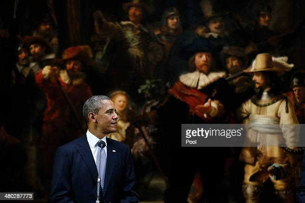 President Barack Obama is seen as he gives a press conference during a visit to the Rijksmuseum ahead of the 2014 Nuclear Security Summit on March 24...